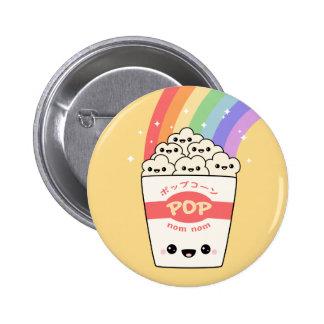 Kawaii Rainbow Popcorn 2 Inch Round Button