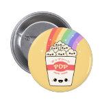 Kawaii Rainbow Popcorn Pinback Button