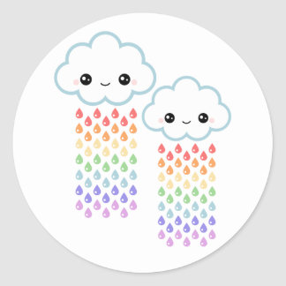 Kawaii Rainbow Rain Classic Round Sticker