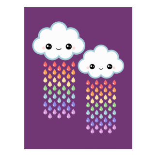 Kawaii Rainbow Rain Post Card