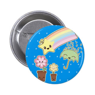 Kawaii rainbow weather pattern so cute button