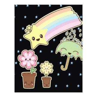 "Kawaii rainbow weather pattern so cute 8.5"" x 11"" flyer"