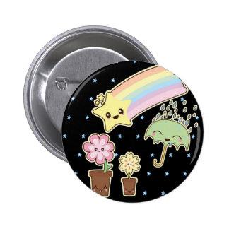 Kawaii rainbow weather pattern so cute pinback button