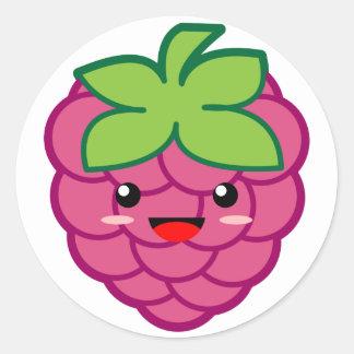 Kawaii Raspberry Classic Round Sticker