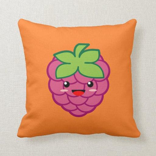 Throw Pillows Rules : Kawaii Raspberry Throw Pillow Zazzle