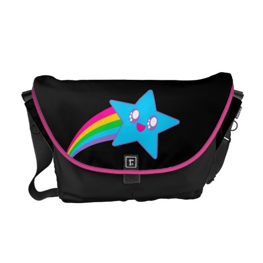 Kawaii Rave Happy Star Neon Rainbow Messenger Bag