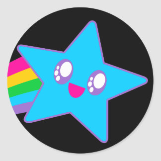 Kawaii Rave Neon Star Rainbow Classic Round Sticker