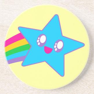 Kawaii Rave Neon Star Rainbow Drink Coaster