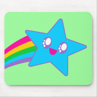 Kawaii Rave Neon Star Rainbow Mouse Pad