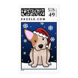 Kawaii Red Heeler Christmas Postage Stamps
