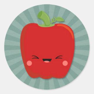 Kawaii Red Pepper on Teal Starburst Classic Round Sticker
