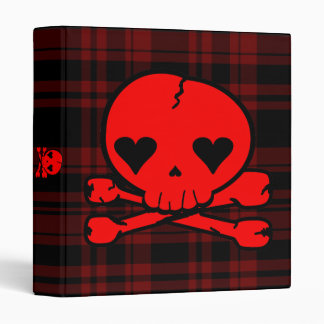 Kawaii Red Skull on Blood Red Plaid Binder