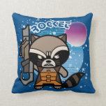 Kawaii Rocket Raccoon In Space Throw Pillow