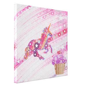 Kawaii Room Decor Unicorns Cupcakes Pastel Canvas Print