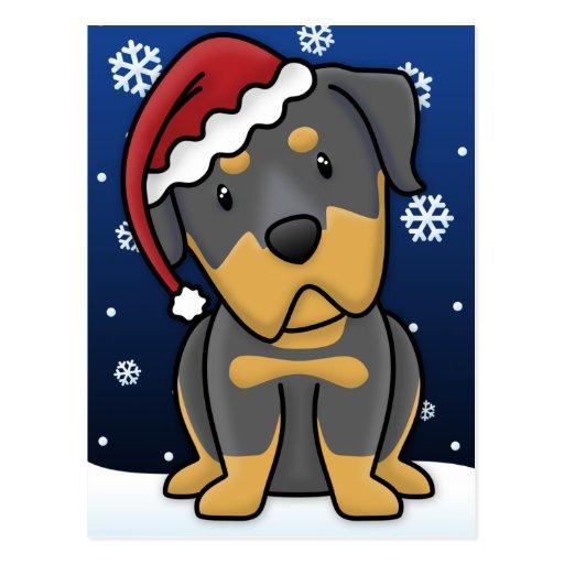 Kawaii Rottweiler Christmas Postcard