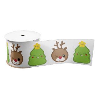 Kawaii Rudolph Reindeer & Christmas Tree Ribbon Satin Ribbon