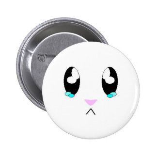 Kawaii Sad Bunny Face Pinback Button