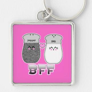 Kawaii Salt n Pepper BFF Silver-Colored Square Keychain