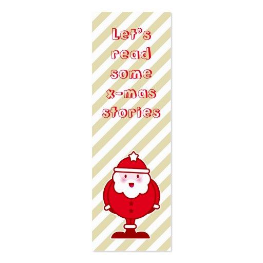 Kawaii Santa bookmark Business Card Templates