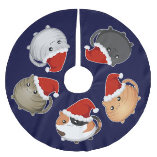 Kawaii Santa cats Brushed Polyester Tree Skirt