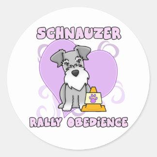 Kawaii Schnauzer Rally Obedience Classic Round Sticker