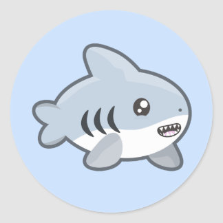 Kawaii Shark Classic Round Sticker