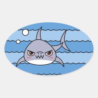 Kawaii Shark Oval Sticker