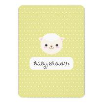 Kawaii Sheep Yellow Polka Dots Neutral Baby Shower Invitation