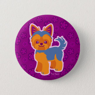 Kawaii Short Hair Yorkie Cartoon Dog Button
