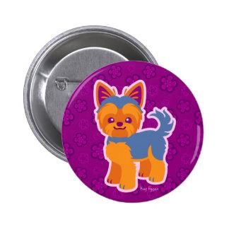 Kawaii Short Hair Yorkie Cartoon Dog Button