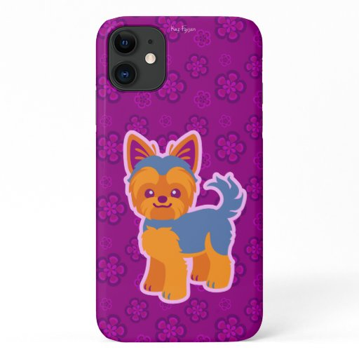Kawaii Short Hair Yorkie Cartoon Dog iPhone 11 Case