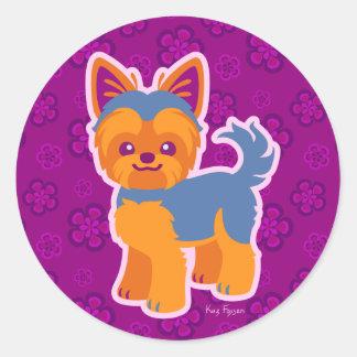 Kawaii Short Hair Yorkie Cartoon Dog Classic Round Sticker