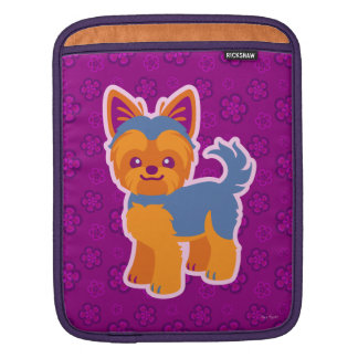 Kawaii Short Hair Yorkie Cartoon Dog iPad Sleeve