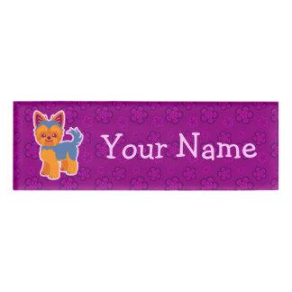 Kawaii Short Hair Yorkie Cartoon Dog Name Tag