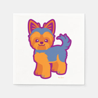 Kawaii Short Hair Yorkie Cartoon Dog Napkin