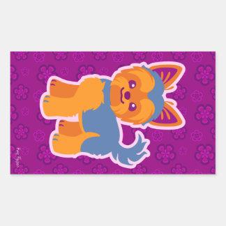 Kawaii Short Hair Yorkie Cartoon Dog Rectangular Sticker