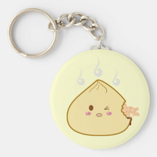 "Kawaii ""SioPao"" Meatbun Attack Basic Round Button Keychain"
