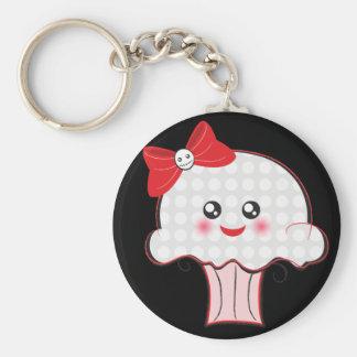 Kawaii Skull Cupcake Basic Round Button Keychain