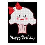 Kawaii Skull Cupcake Birthday Greeting Card