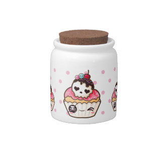 Kawaii skull cupcake candy jars