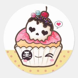 Kawaii skull cupcake classic round sticker
