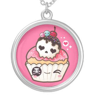 Kawaii skull cupcake silver plated necklace