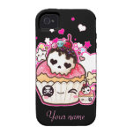 Kawaii skull cupcake with stars and hearts Case-Mate iPhone 4 case