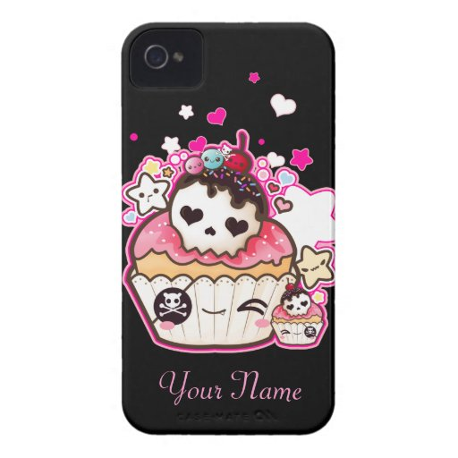 Kawaii skull cupcake with stars and hearts Case-Mate iPhone 4 cases