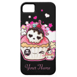 Kawaii skull cupcake with stars and hearts iPhone 5 cases