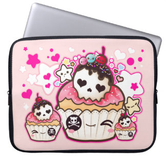 Kawaii skull cupcake with stars and hearts computer sleeve