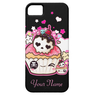 Kawaii skull cupcake with stars and hearts iPhone SE/5/5s case