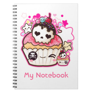 Kawaii skull cupcake with stars and hearts notebook