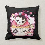 Kawaii skull cupcake with stars and hearts pillow