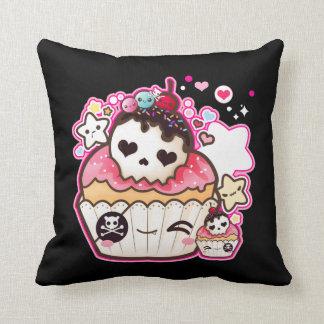 Kawaii skull cupcake with stars and hearts pillows